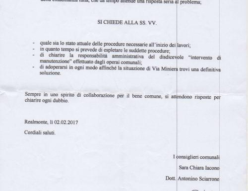 Realmonte, Strada della miniera. Interrogazione al sindaco Zicari.