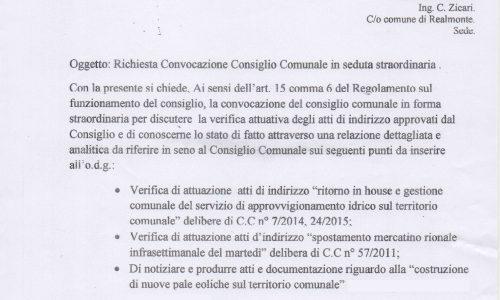 Realmonte: I Consiglieri Comunali di Minoranza chiedono la convocazione del Consiglio Comunale in seduta Staordinaria.